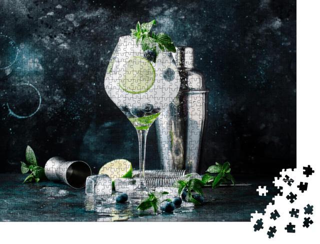 """Puzzle 1000 Teile """"Sommer: Cocktail mit Heidelbeeren, Mojito mit Rum, Minze, Limette und Eis"""""""