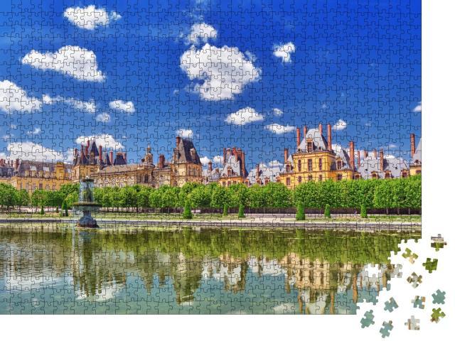 """Puzzle 1000 Teile """"Schloss Fontainebleau mit Brunnen, Residenz der Könige, Frankreich"""""""