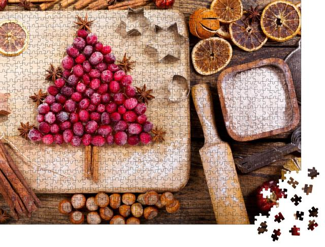 """Puzzle 1000 Teile """"Weihnachtsbäckerei mit gefrorenen Preiselbeeren"""""""