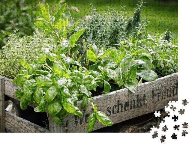 """Puzzle 1000 Teile """"Holzkiste mit einer Vielzahl frischer, grüner Küchenkräuter"""""""