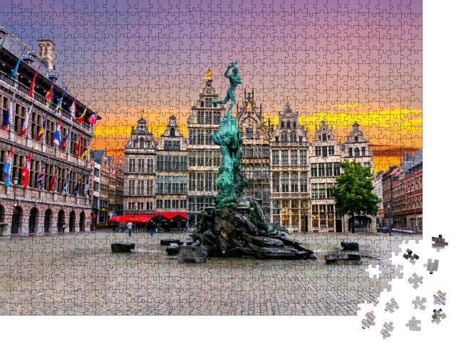"""Puzzle 1000 Teile """"Brabo-Brunnen auf dem Marktplatz im Zentrum von Antwerpen, Belgien"""""""