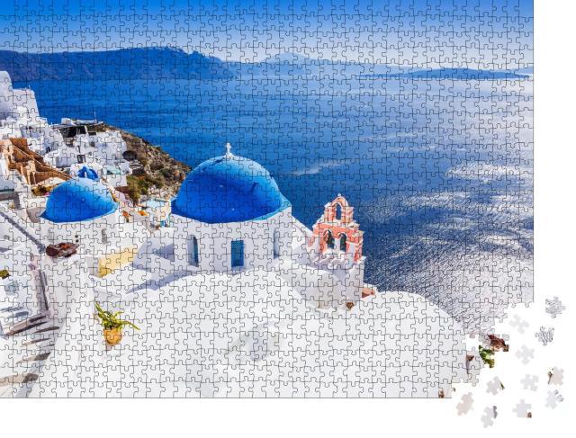 """Puzzle 1000 Teile """"Das malerische Dorf Oia und die Caldera von Santorin"""""""