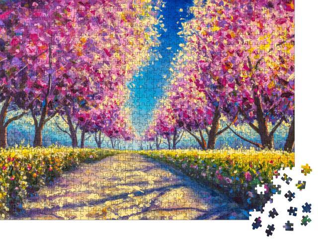 """Puzzle 1000 Teile """"Ölgemälde: Sakura, die japanische Kirschblüte"""""""