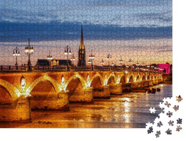 """Puzzle 1000 Teile """"Pont de Pierre in Bordeaux, Frankreich"""""""