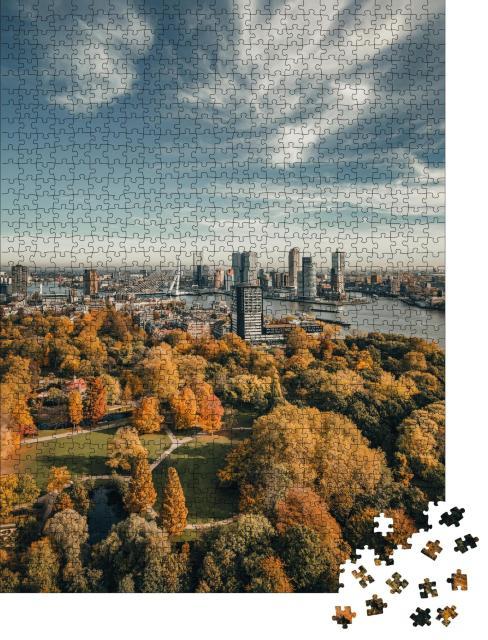 """Puzzle 1000 Teile """"Skyline von Rotterdam, Niederlande"""""""