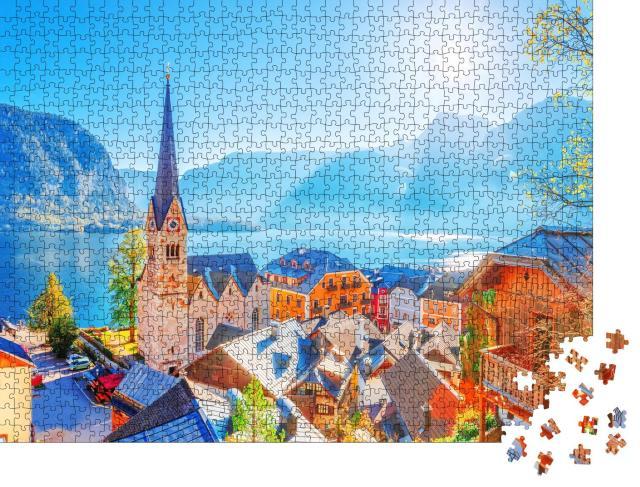 """Puzzle 1000 Teile """"Historisches Dorf Hallstadt, UNESCO-Weltkulturerbe,  Österreich"""""""