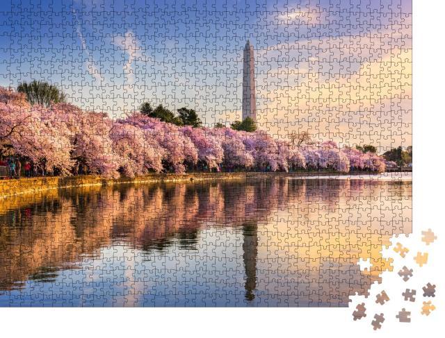 """Puzzle 1000 Teile """"Gezeitenbecken mit Washington Monument im Frühling, Washington DC, USA"""""""