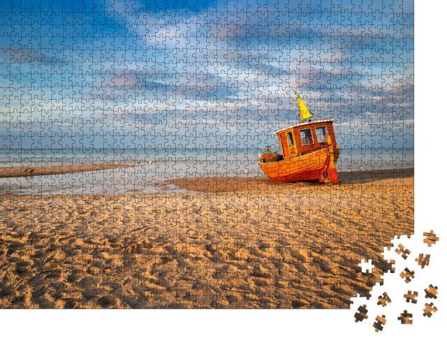 """Puzzle 1000 Teile """"Altes Fischerboot am Strand von Ahlbeck auf Usedom"""""""