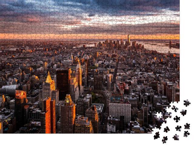"""Puzzle 1000 Teile """"Skyline von Manhattan im Sonnenuntergang"""""""