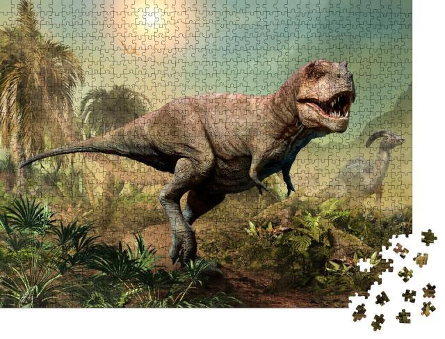 """Puzzle 1000 Teile """"Tyrannosaurus rex, 3D-Illustration einer Szene"""""""