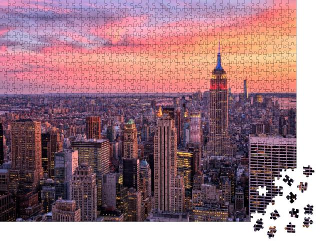 """Puzzle 1000 Teile """"New York City mit Empire State Building im Sonnenuntergang"""""""
