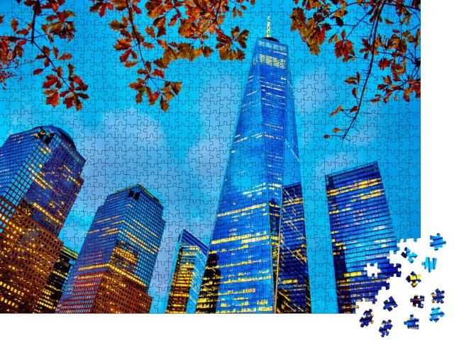 """Puzzle 1000 Teile """"Freedom Tower im One World Trade Center in der Dämmerung"""""""