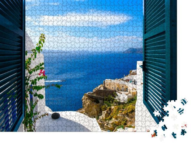"""Puzzle 1000 Teile """"Blick aus einem Fenster im Dorf Oia auf der Insel Santorin, Griechenland"""""""