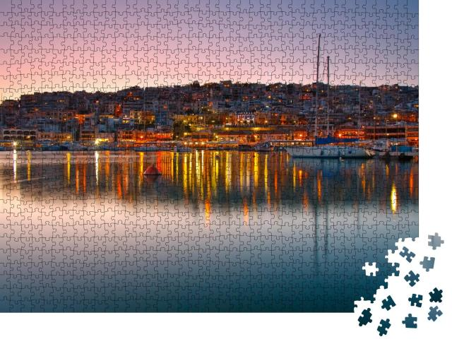"""Puzzle 1000 Teile """"Abendliche Szenerie im Mikrolimano Yachthafen, Athen, Griechenland"""""""