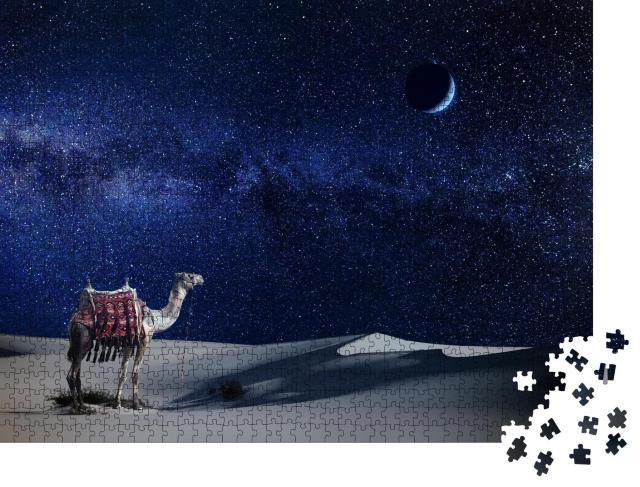 """Puzzle 1000 Teile """"Einsames Kamel unter dem Sternenhimmel der Wüste"""""""