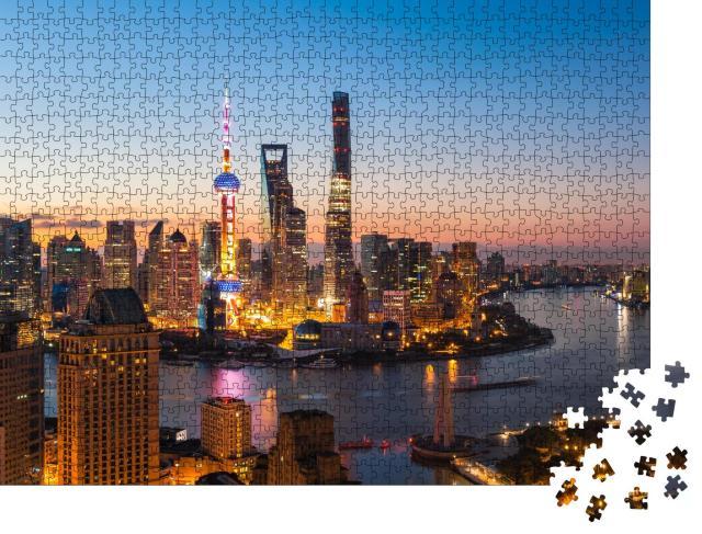 """Puzzle 1000 Teile """"Hell erleuchtetes Shanghai bei Nacht"""""""