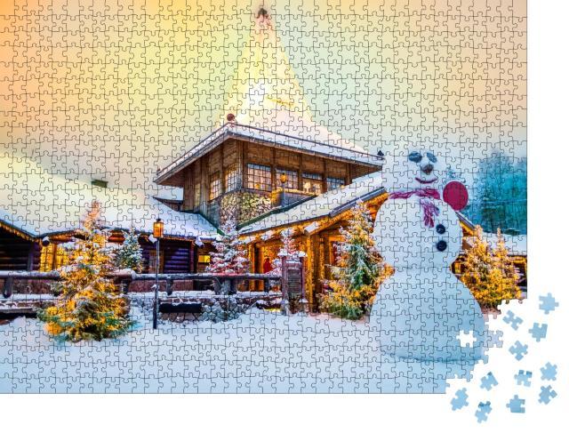 """Puzzle 1000 Teile """"Bezauberndes Weihnachtsmanndorf in Lappland Finnland"""""""