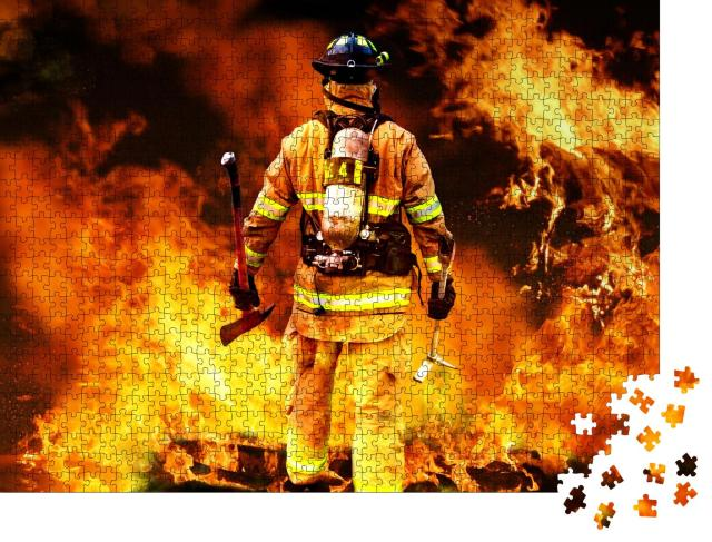 """Puzzle 1000 Teile """"Feuerwehrmann im Feuer"""""""