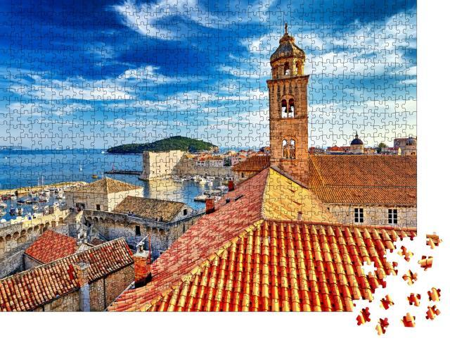 """Puzzle 1000 Teile """"Blick über Dächer: Altstadt von Dubrovnik bei Sonnenuntergang, Kroatien"""""""