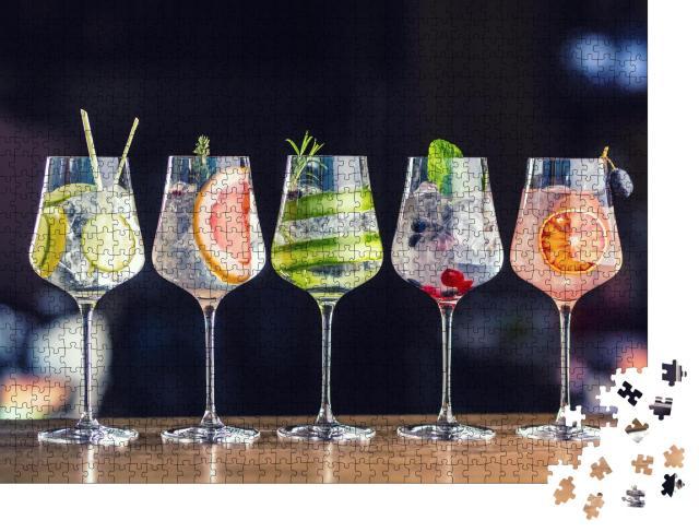 """Puzzle 1000 Teile """"Fünf verschiedene Gin-Tonic-Cocktails """""""