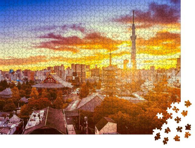 """Puzzle 1000 Teile """"Tokio, Japan: Senso-ji-Tempel und des Skytree in der Morgendämmerung"""""""