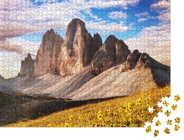 """Puzzle 1000 Teile """"Morgenansicht der Drei Zinnen, Südtirol, italienische Alpen"""""""
