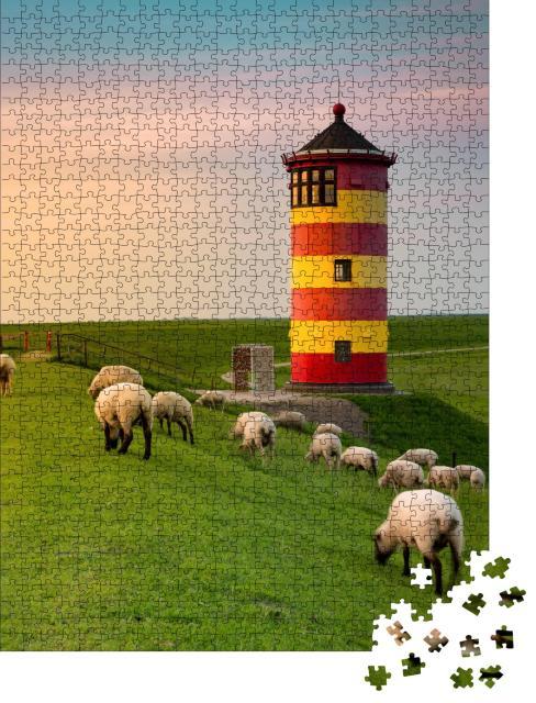 """Puzzle 1000 Teile """"Ein schöner Leuchtturm an der ostfriesischen Küste"""""""