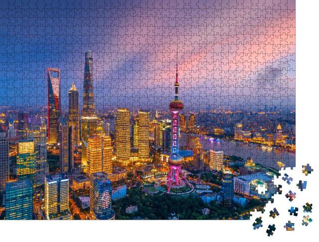 """Puzzle 1000 Teile """"Luftaufnahme der Skyline von Shanghai bei Nacht, China"""""""