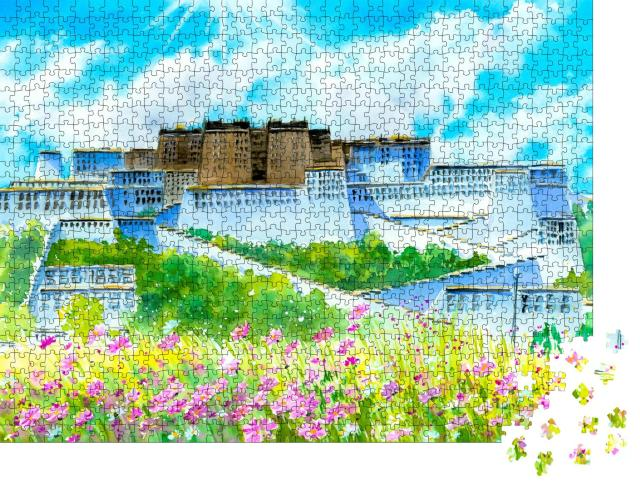 "Puzzle 1000 Teile ""Aquarellmalerei: Potala-Palast, Tibet, China"""