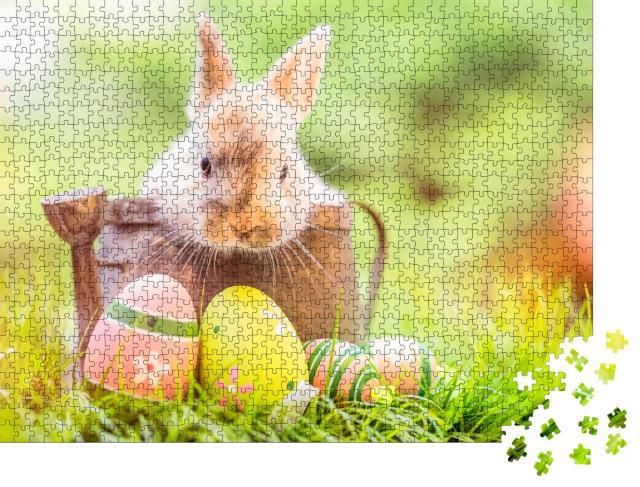 """Puzzle 1000 Teile """"Kleines Kaninchenbaby mit Ostereiern"""""""