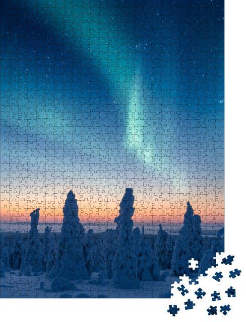 """Puzzle 1000 Teile """"Schneebedeckte Bäume unter wunderschönem Nordlicht"""""""