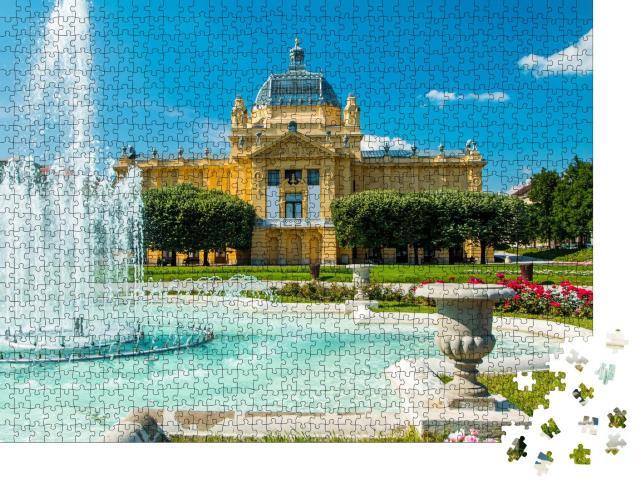 """Puzzle 1000 Teile """"Kunstpavillon und Springbrunnen, Zagreb, Kroatien"""""""