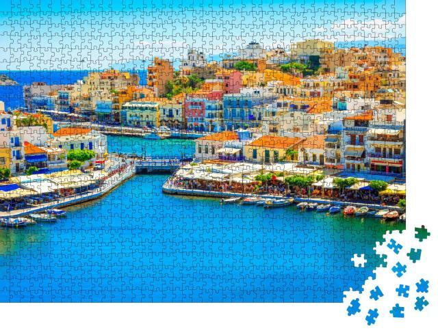 """Puzzle 1000 Teile """"Agios Nikolaos und Voulismeni, See auf der Insel Kreta, Griechenland"""""""
