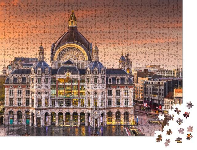 """Puzzle 1000 Teile """"Morgenstimmung über dem Hauptbahnhof von Antwerpen, Belgien"""""""