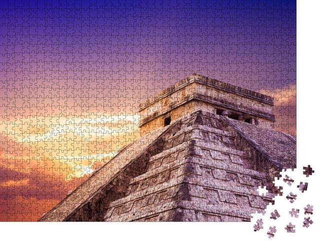 """Puzzle 1000 Teile """"Tempel von Kukulkan, Chichén Itzá, Yucatan, Mexiko"""""""