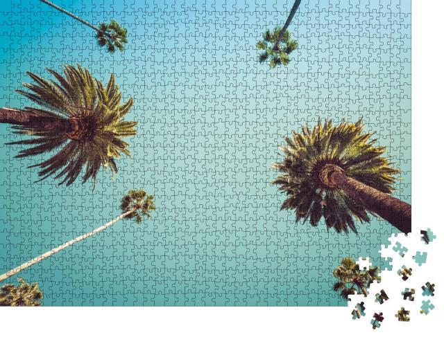 """Puzzle 1000 Teile """"Blick nach oben: Blauer Himmel über Palmen"""""""