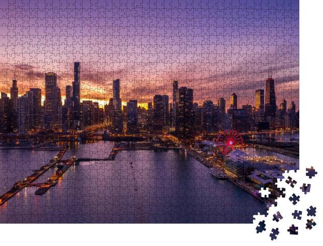 """Puzzle 1000 Teile """"Chicago: Stadtzentrum mit Skyline, Luftaufnahme"""""""