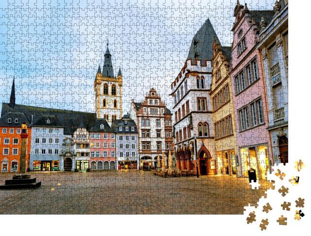 """Puzzle 1000 Teile """"Historische Fassaden am Hauptmarkt in Trier, Deutschland"""""""