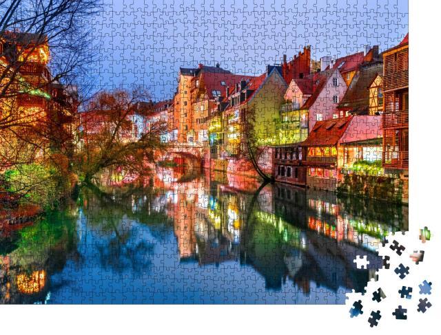 """Puzzle 1000 Teile """"Historische Altstadt von Nürnberg der Pegnitz, Deutschland"""""""