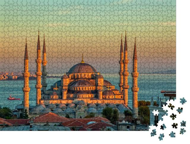"Puzzle 1000 Teile ""Blaue Moschee bei Sonnenuntergang, Istanbul, Sultanahmet-Park"""