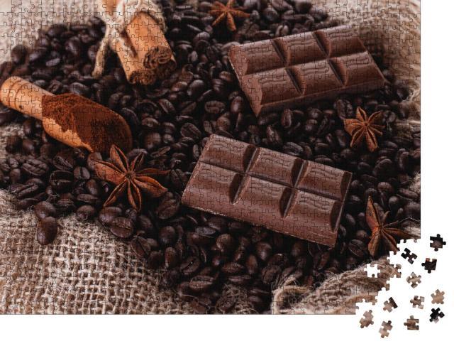 """Puzzle 1000 Teile """"Duftendes Sortiment aus Schokolade, Kaffeebohnen, Zimt und Sternanis"""""""