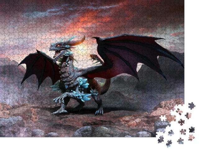 """Puzzle 1000 Teile """"Blauer Drache, 3D-Illustration"""""""