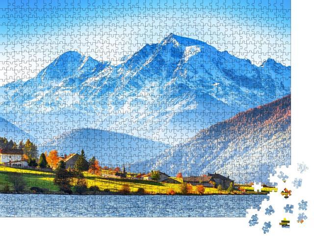 """Puzzle 1000 Teile """"Lago della Muta, auch bekannt als Haidersee, Südtirol"""""""