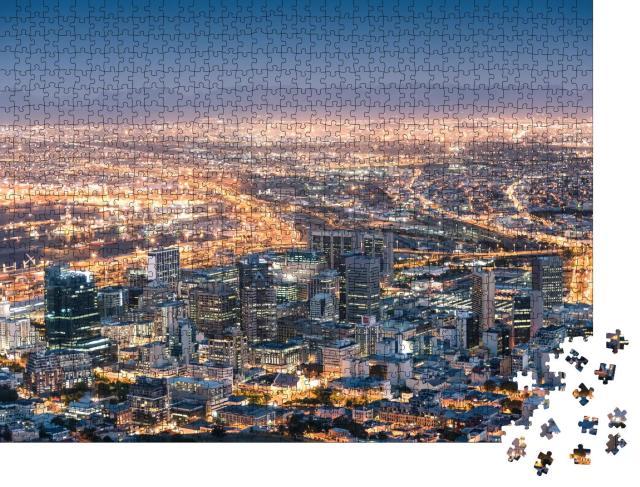 """Puzzle 1000 Teile """"Hell erleuchtetes Kapstadt bei Nacht"""""""