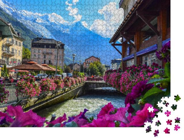 """Puzzle 1000 Teile """"Blick auf den Fluss Arve und das Mont-Blanc-Massiv, Chamonix"""""""