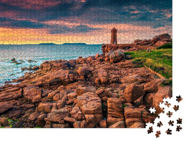 """Puzzle 1000 Teile """"Wilde und malerische Küste bei Ploumanach, Bretagne, Frankreich"""""""