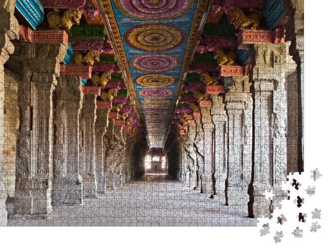 """Puzzle 1000 Teile """"Das Innere des hinduistischen Meenakshi-Tempels in Madurai, Indien"""""""