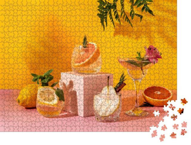 """Puzzle 1000 Teile """"Erfrischende bunte Sommergetränke mit verschiedenen Früchten"""""""