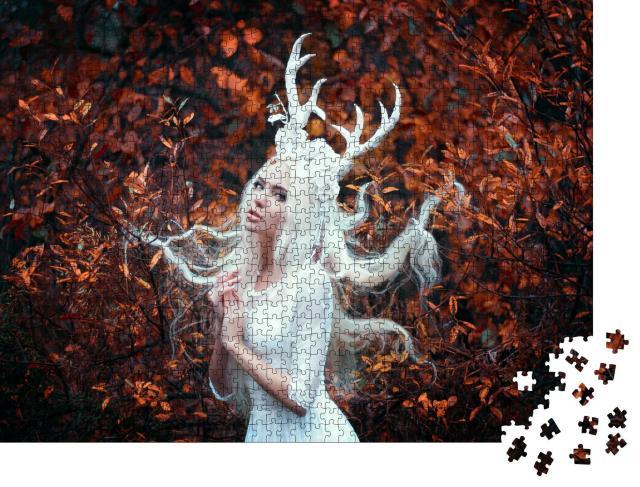 """Puzzle 1000 Teile """"Fantasy: Weiße Frau im Wald"""""""
