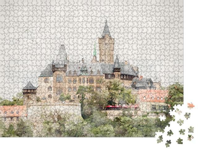 """Puzzle 1000 Teile """"Aquarell des Schlosses von Wernigerode im Harz, Sachsen-Anhalt"""""""